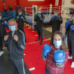 Kate Forbes with coaches and members of Lochaber Phoenix Boxing Club. Photograph: Iain Ferguson, alba.photos NO F36 KATE FORBES BOXING CLUB 01