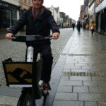 Kate Willis, of LEG, tries out one of the two ebikes that were loaned for a trial last year. NO F38 Kate forth bike