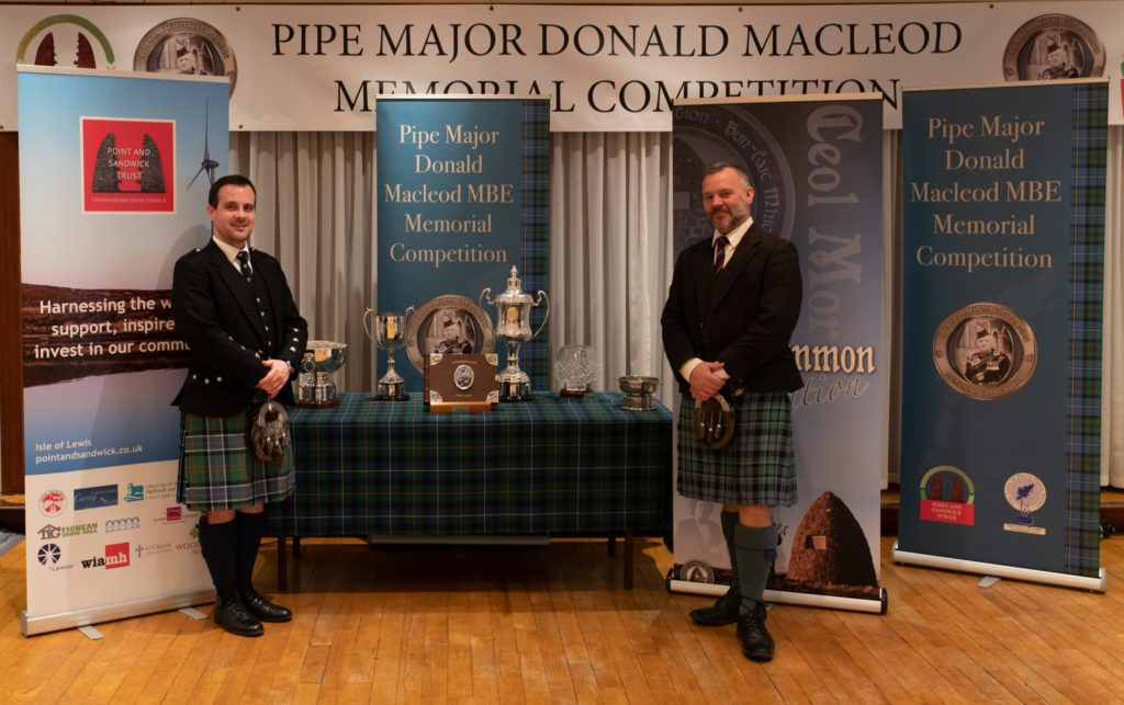 Finlay Johnston (left), overall winner of the 2019 competition, with second overall, Stuart Liddell. Photograph: Derek MacKinnon NO F38 PIPE7448-min