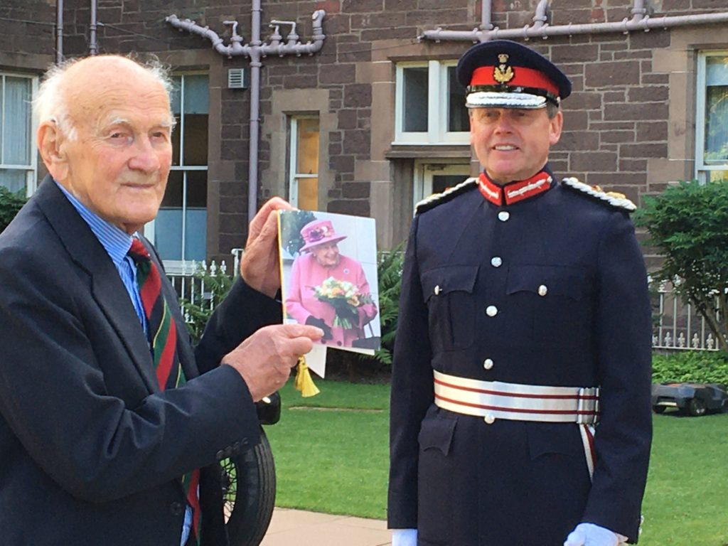 Lord Lieutenant of Peth and Kinross, Stephen Leckie, presents Mr Cameron with his birthday card from The Queen. NO F41 CAC 100 Birthday 3