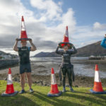Wild swimmers with their haul of cones are, from left, Sharyn Morgan, Bill Cameron, Debbie Reynolds and Gina Hough. Photograph: Iain Ferguson, The Write Image. NO F43 loch cones o2
