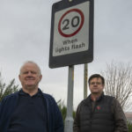 Local resident Chris Jones, left, with Councillor Andrew Baxter at the non-working warning lights beside Lundavra Primary School in Fort William. Photograph: Iain Ferguson, alba.photos NO F44 Lundavra Lights 02