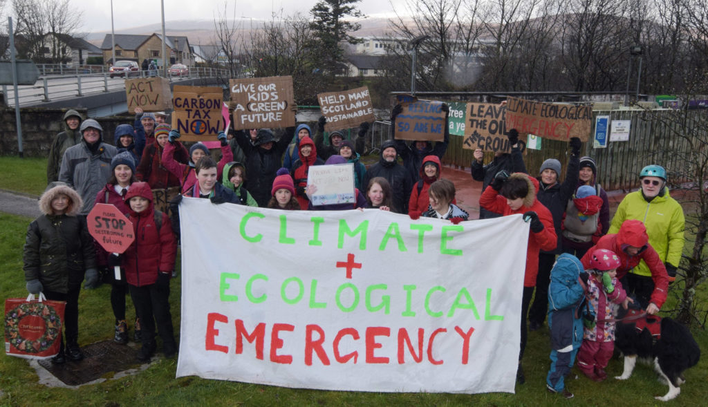 Pupils were joined by a crowd of all ages to support their climate change strike on Friday. Picture: Iain Ferguson, The Write Image. NO F12 FW CLIMATE CHANGE DAY OF ACTION 04