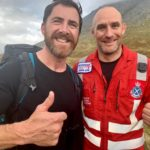 Former Royal Marines sniper, Aldo Kane, left, with Wayne Auton. Mr Auton was the Advanced Paramedic from the EMRS helicopter and is also a former Royal Marine Commando. Photograph: LMRT NO F45 Aldo Kane 01