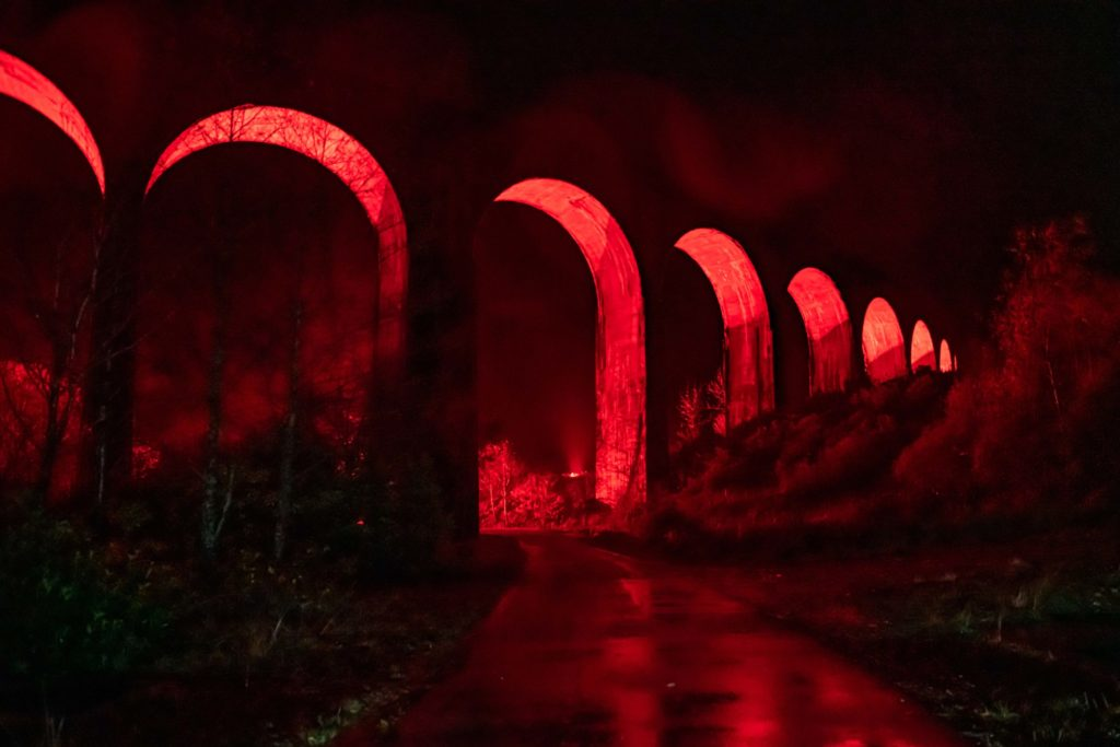 Glenfinnan Viaduct turns red for the nation's fallen