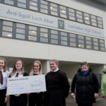 Linda Campbell, on behalf of Lochaber and District Lunch Club, the Tuesday Club and Lochaber Action on Disability and Lorraine Revitt, Lochaber Women's Aid are pictured receiving their cheques from S6 pupils at LHS last week. NO F47 LHS Cheque handover-2
