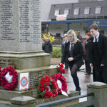 Lochaber High School pupils Alice Campbell (eft) and Leanne Gilchrist lay a wreath at Fort William War Memorial mark the Armistice Day anniversary Photograph: Iain Ferguson, alba.photos NO F47 Remembrance FW memorial 02