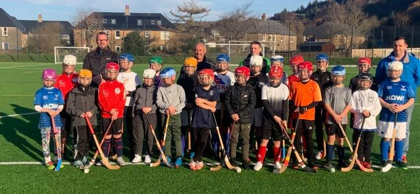 Coaches pitch in as primary school shinty training restarts