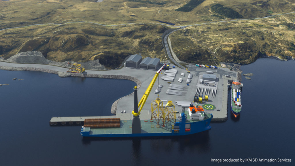 An artist's drawing is of the new Deep Water Terminal with a Heavy Lift vessel on the main berth and freight ferry on the linkspan berth. NO F51 _DWT_PressRelease_image04_IKMCredit