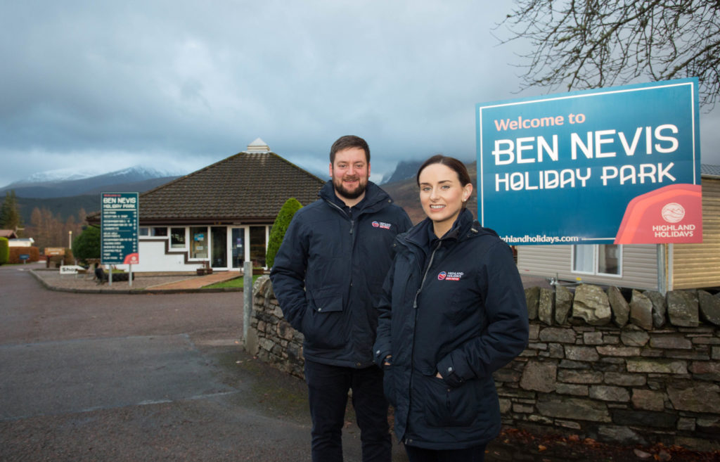 Andrew and Emily Campbell at their Ben Nevis Holiday Park on the outskirts of Fort William. Photograph: Alison White Photography NO F52 Highland Holidays, Emily and Andrew Campbell 4