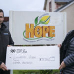 Fort William plumber Stephen MacTavish who ran the West HIghland Way to raise money for Lochaber Hope, hands over a cheque for over £5,500.00 to Alyson Smith of Lochaber Hope. Photograph: Iain Ferguson, alba.photos NO F52 STEPHEN MACTAVISH CHEQUE