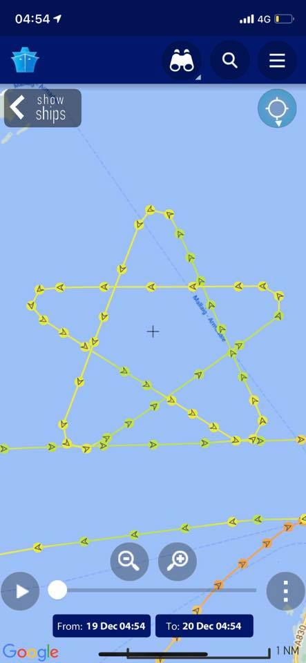The radar plot of the track of Ronja Commander which brought smiles. Photograph: Marine Traffic NO F53 track 02