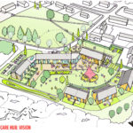 The artist's impression for a community care hub and associated flexible housing units at Dail Mhor. NO-F03-Dail-Mhor_VISION-scaled.jpg