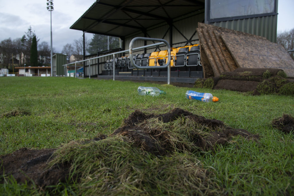 More damage was caused at the Claggan Park ground at the weekend. Photograph: Iain Ferguson, alba,photos NO-F04-Claggan-Park-vandalism.jpg