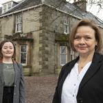 Helen Polley (right) Estates Support Specialist, with Anastasia Young, Estates Surveyor, pictured in front of Killiechonate Lodge, which will be the site of the future Jahama Highland Estates office with renovations due to begin later this year. Photograph: Iain Ferguson, The Write Image. NO F04 Jahama Helen Polley & Ana Young 02