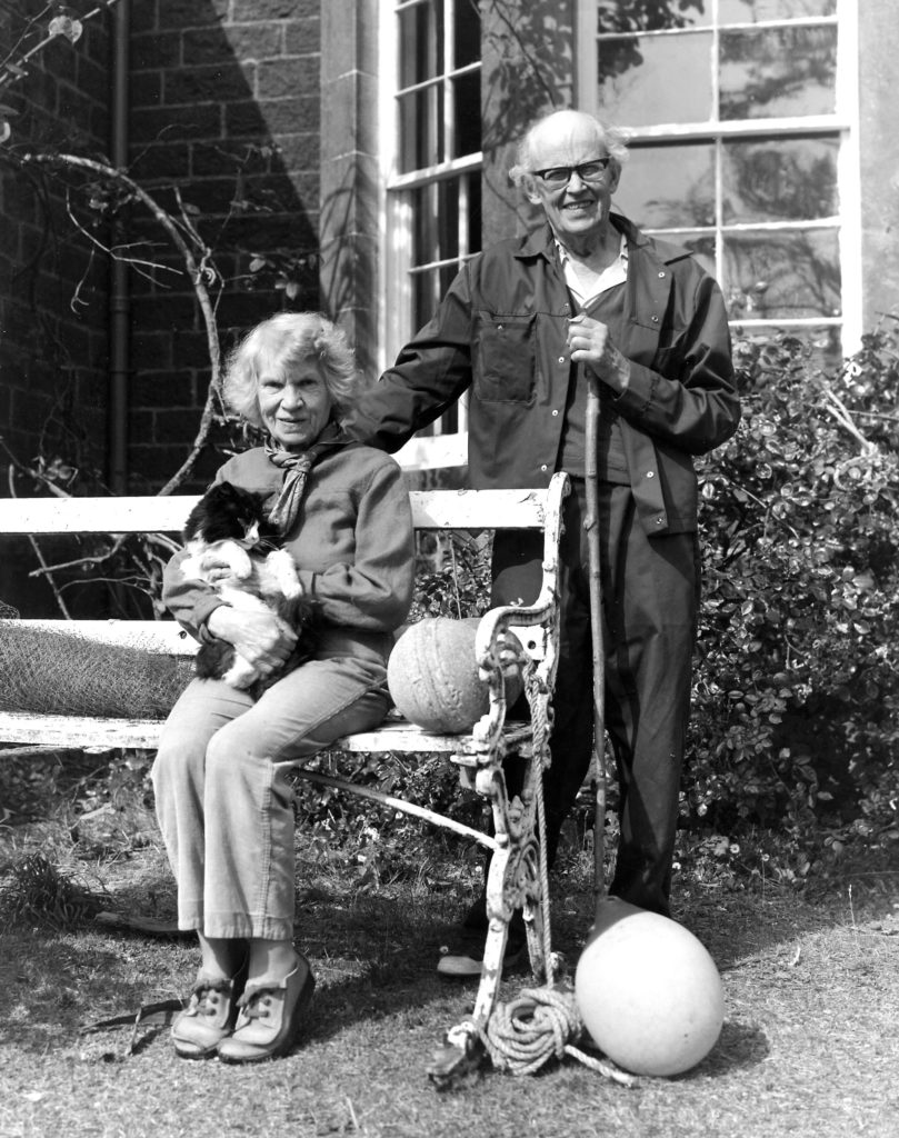 This Sunday's radio programme looks at the life of Margaret Fay Shaw, pictured here with her husband, John Lorne Campbell, outside their Canna House home. Photograph: National Trust for Scotland. NO F04 MFS 1