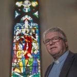 Easter Window in the Duncansburgh Macintiosh Church. Photograph: Iain Ferguson, alba.photos NO F15 Rev Baxter and window 01