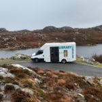 Mobile library vehicle, Lexy, on its way to Harris. NO F06 Lexy on its way to Harris.