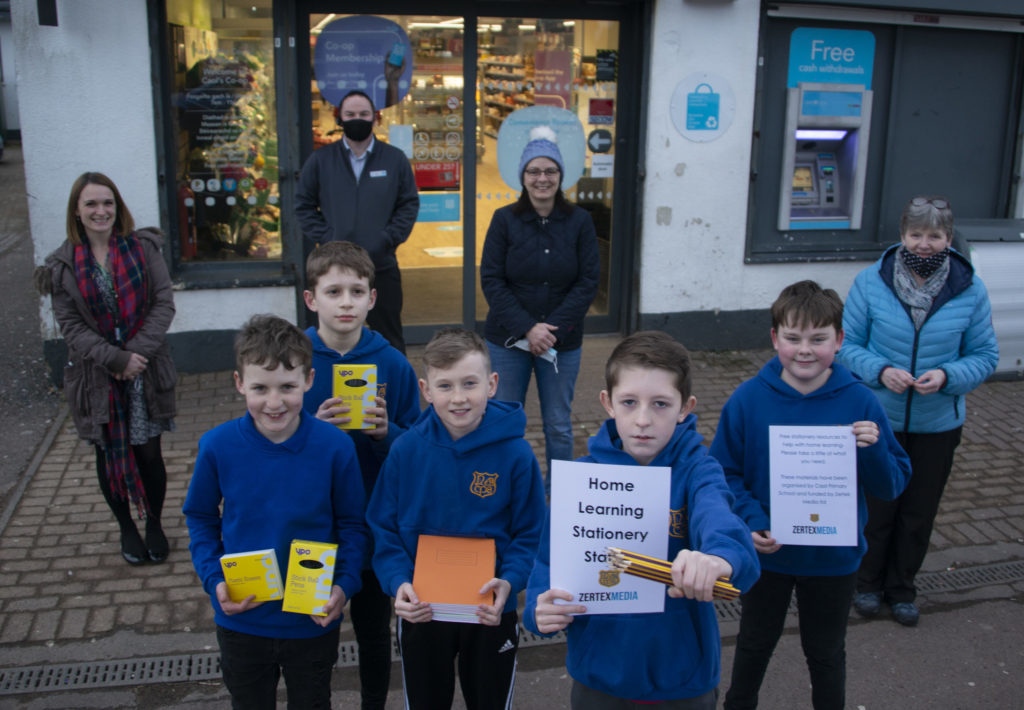 'Team Caol' outside the Co-op where children were able to pick up 'study essentials' such as pens, pencils and other stationary. Photograph Iain Ferguson, alba.photos NO F07 Caol stationary