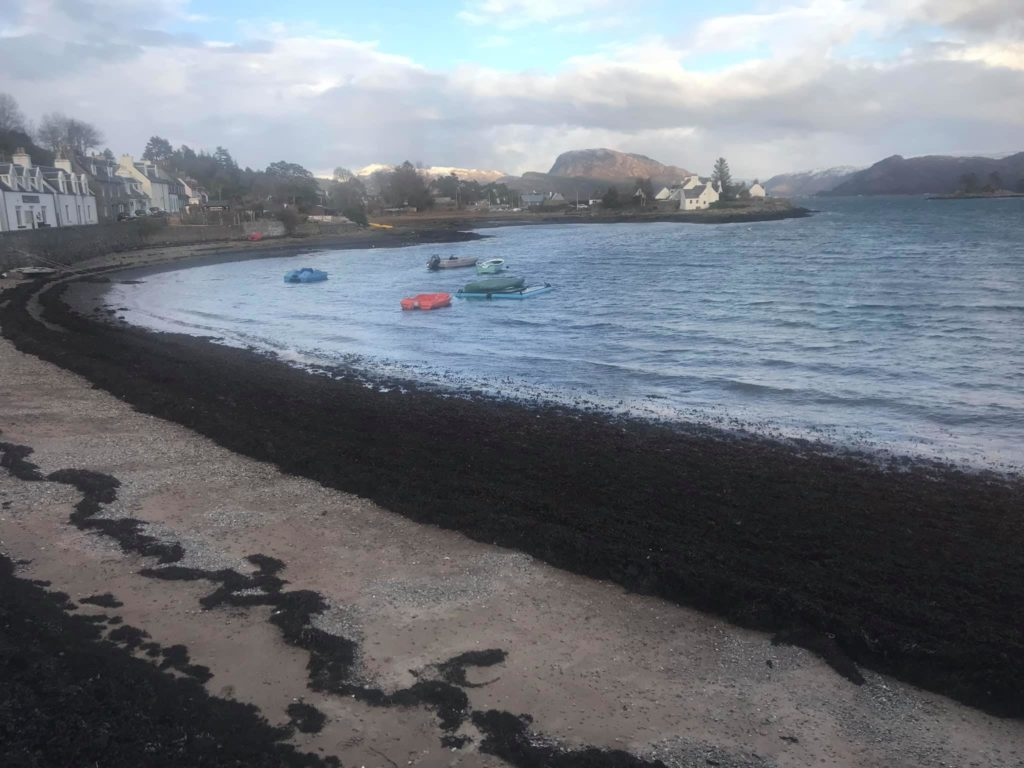 Huge amounts of seaweed have been washed up on Plockton foreshore. NO F07 Plockton news