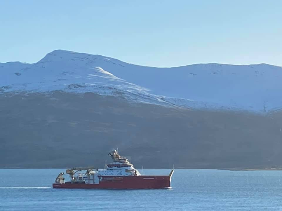 Isla Robertson's photograph of the polar research ship, the RSS Sir David Attenborough, as it makes its way along the Morvern coast. NO F08 RSS Sir David Attenborough