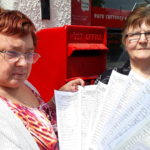 Lorna Maclennan and co-worker Lillian Milne with the petition at Taynuilt Post Office NO_T22_Taynuiltnopost