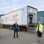 From left are Chris Dowling, Cairngorm Group; Dr Boyd Peters, Medical Director, NHS Highland; Mike Cooper, Highland Council Transport and Logistics Manager and Donna Manson, Chief Executive of The Highland Council pictured with the Jabbernaut. NO F10 Jabbernaut