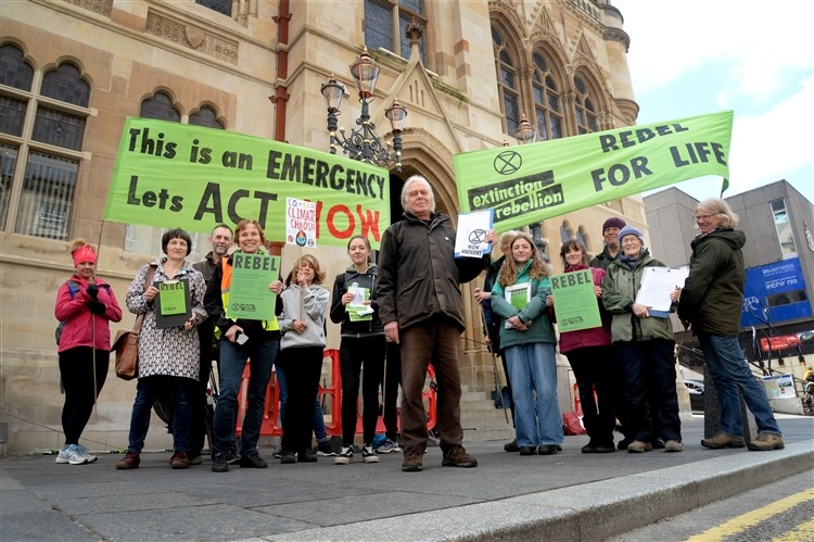 Extinction Rebellion campaigners gathered outside Highland Council headquarters in 2019. NO F20 Extinction Rebellion Inverness protest