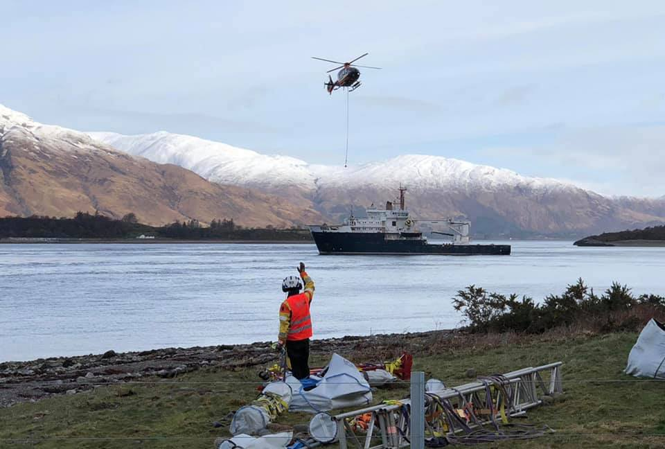 Work underway on the new lighthouse at Corran Narrows, and which went operational on Sunday. NO F14 Corran lighthouse 01