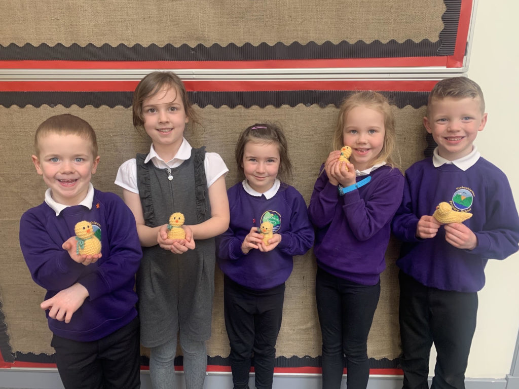 Some of the youngsters with their Easter gifts. NO F14 Kinlochleven Primary knitting event