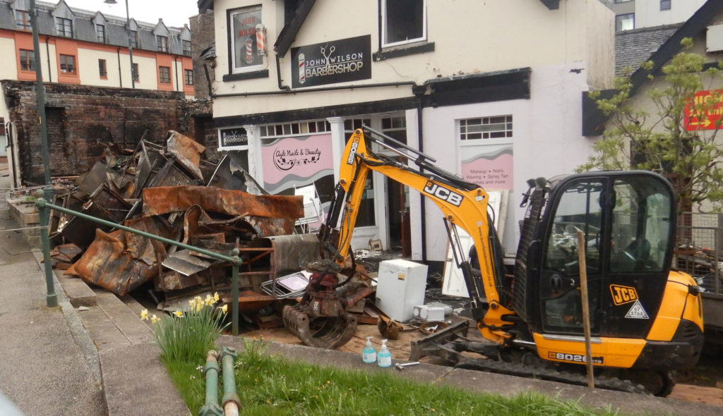 Contractors started the demolition of the buildings this week. Photograph: Iain Ferguson, alba.photos NO F18 Chip shop demolition 01