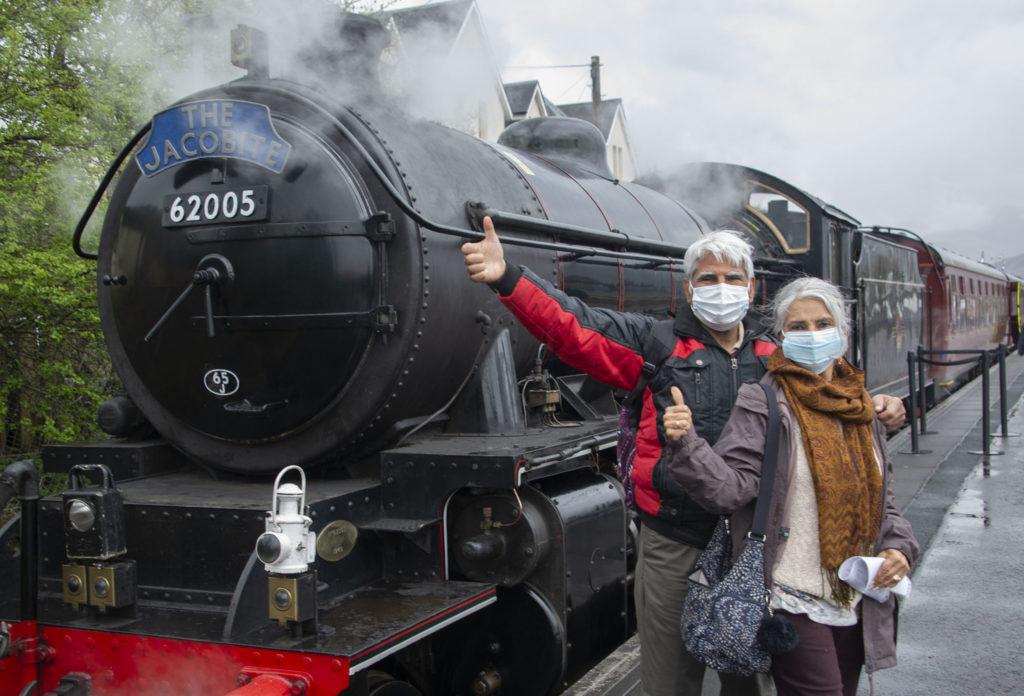 Photograph: Iain Ferguson, The Write Image. NO F18 Jacobite Steam train on track
