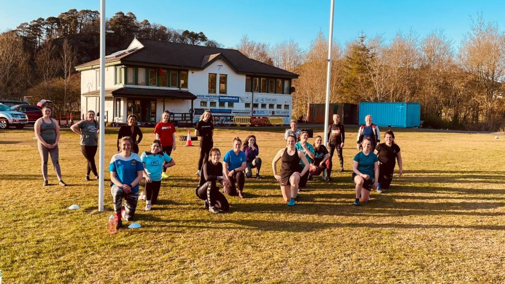 Rugby ladies throw themselves back into training