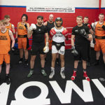 Lochaber Phoenix Boxing Club Senior section and carded boxers take the ring with Boxing Champions Lee Selby (centre). jamie Cox (left) and Gavin Gwynne who spent three days in Fort William training with them and passing on experience. Photograph: Johnpaul Peebles, Abrightside Photography. NO F23 LEE SELBY BOXING VISIT 01