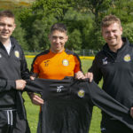 Danny MacKintosh (centre) has renewed his contract with Fort William FC, with Coach Paul Coutts (left) and Manager Ashley Hollyer. Photograph Iain Ferguson, alba.photos NO F24 Fort FC Danny contract