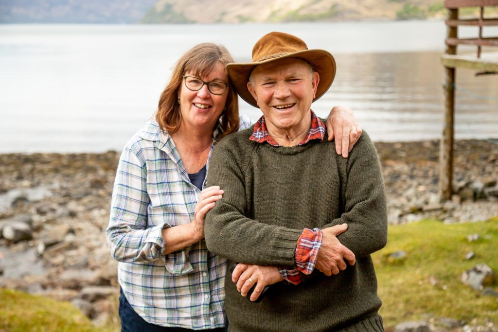 Tom and Jill McClean at their home on the shore of Loch Nevis and which is now up for sale. NO F25 Tom and Jill 01