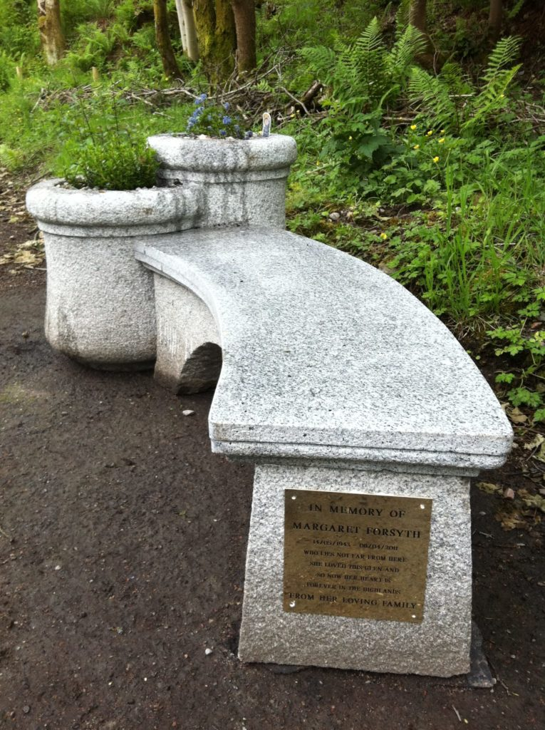 The memorial bench to the late Margaret Forsyth in Glen Nevis which has been desecrated on several occasions. NO F25 cemetery 01