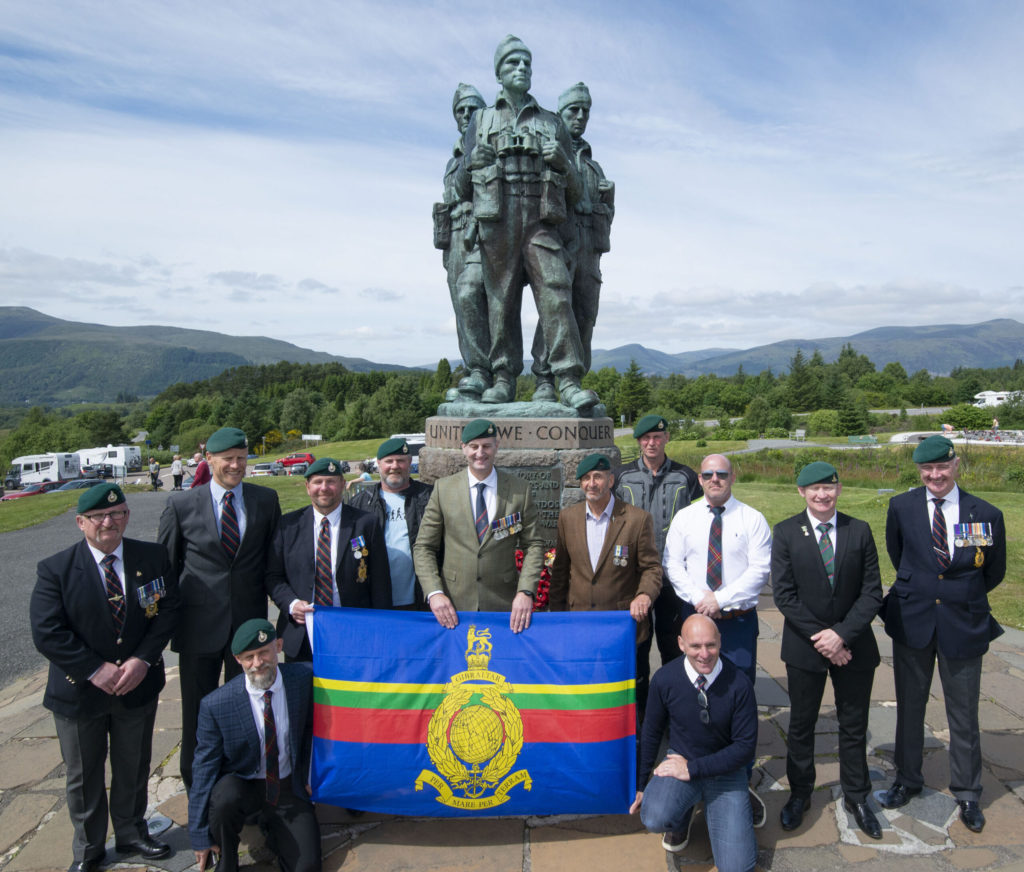 Former Royal Marines from Scotland to the South of England converged on the Commando Memorial at Spean Bridge on Armed Forces Day to share stories and celebrate their time in the service - after taking part in the 'usual' speed march to Achnacarry. The group represented many different branches of the Marines, having seen action in many of the world's conflict areas with memories which will never leave them. This was their first organised trip together and were raising money Royal Marines Association - Royal Marines Charity. Photograph: Iain Ferguson, alba.photos NO F28 Armed Forces Day 01