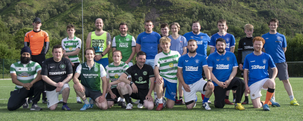 Local footballers in Kinlochleven who formed themselves into Celtic and Rangers supporters teams for a charity match. Photograph: Iain Ferguson, alba.photos NO-F29-Island-Park-Teams-scaled.jpg
