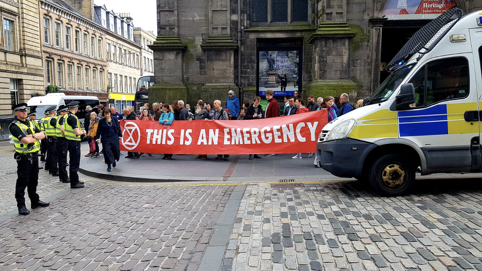 Members of Extinction Rebellion from Lochaber and the rest of the Highlands and Islands on the High Street in Edinburgh. NO F26 XR in Edinburgh 01