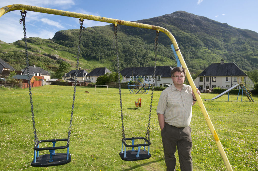 Councillor Andrew Baxter pictured in one of Kinlochleven's play parks. Photograph: Iain Ferguson, alba.photos NO F27 Kinlochleven playpark 04