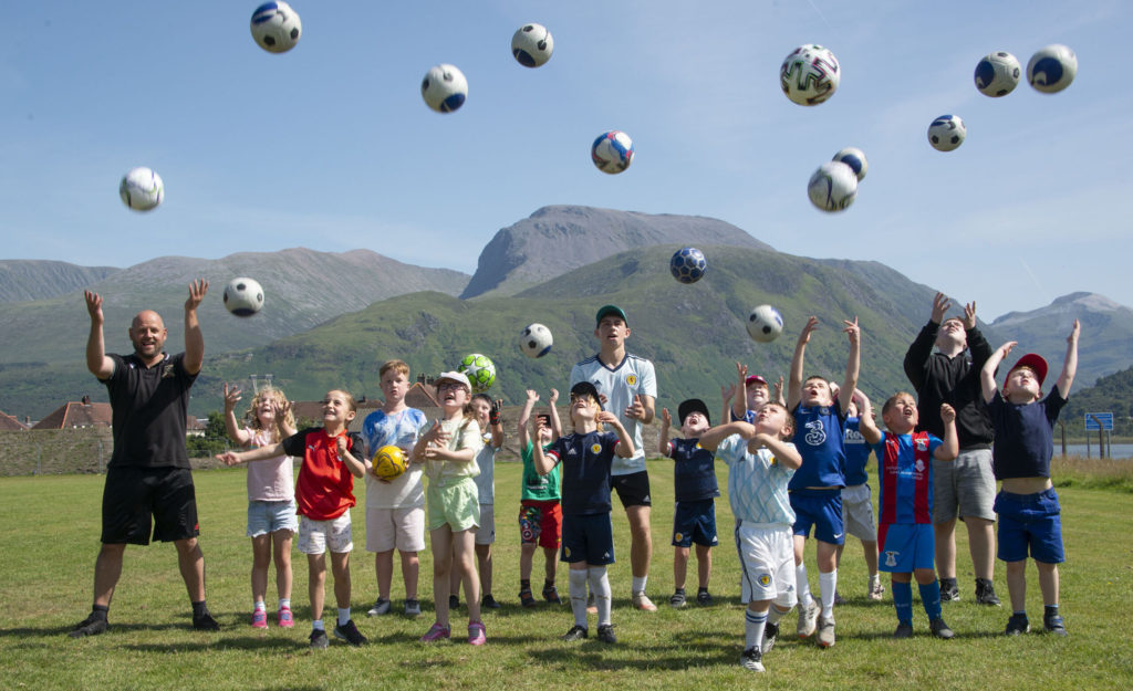 Young primary age players enjoyed practising their skills in the sunshine. Photograph: Iain Ferguson, alba.photos NO F31 Spud Footie 01