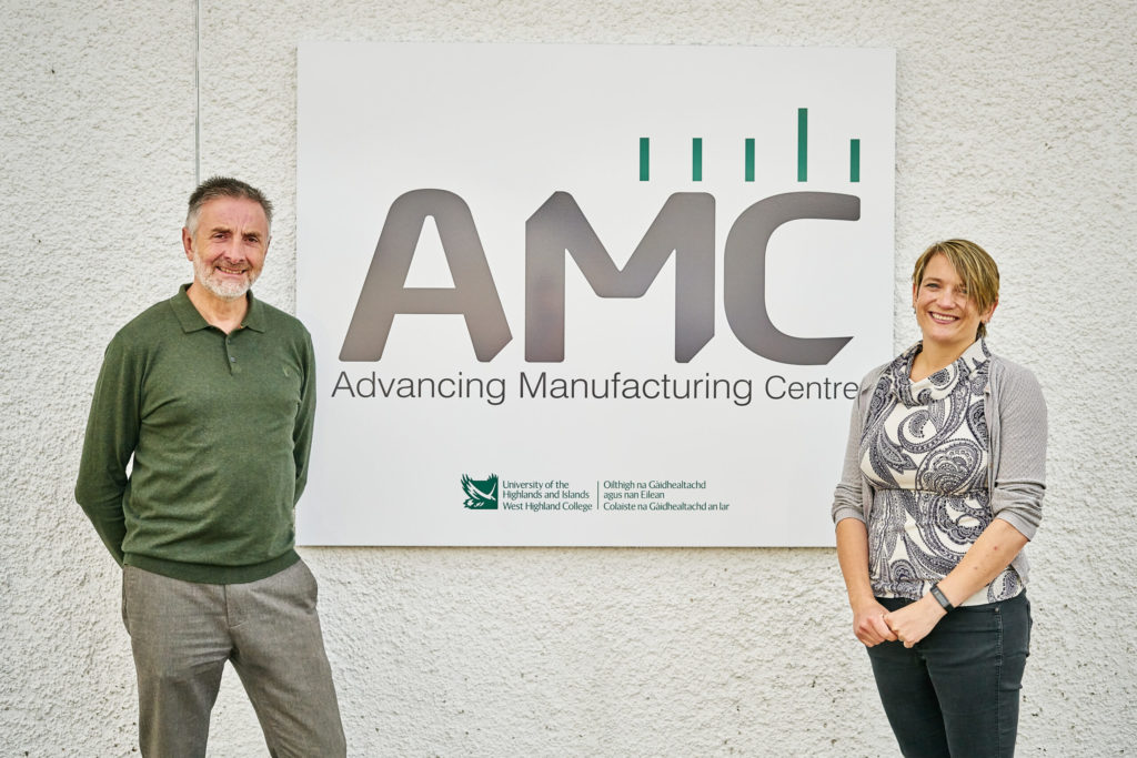 The Advanced Manufacturing Centre's team of Margaret Weir and Andy Harpur outside the refurbished premises in Fort William. NO F34 AMC team Margaret Weir and Andy Harpur