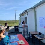Connie Dawson from the Climate Beacons partnership leading a mapping workshop at Carinish Hall, North Uist. NO F36 Liniclate library 01