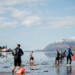 Swimmers take to the water on Good Friday for a morning dip in Loch Linnhe. JP F14 Open Water 01. Photo: Abrightside Photography. JP F14 Open Water 01