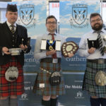 Top winners from left are Ben Duncan (in the red kilt), who won the P/A Grade Piobaireachd, and was awarded The Gold Axe (An Tuagh Oir). He also won the Open 6-8 March competition, and awarded The Moidart Quaich; Calum Watson who won the P/A Grade March, Strathspey and Reel, winning The Robin Fleming Award (The Lochaber Medal). He also won the Open Hornpipe and Jig and awarded The Lochaber Gathering Shield; Ross Miller won the B/C Grade Piobaireachd, and awarded The Silver Axe (An Tuagh Argaid) and also the B/C Grade March, Strathspey and Reel, awarded the Clydesdale Bank trophy. Missing is Gordon McCready, who the Best P/A Grade Strathspey and Reel, and awarded the Leek's Taxis Trophy. Photograph: Iain Ferguson, alba.photos NO F36 Lochaber Gathering 01