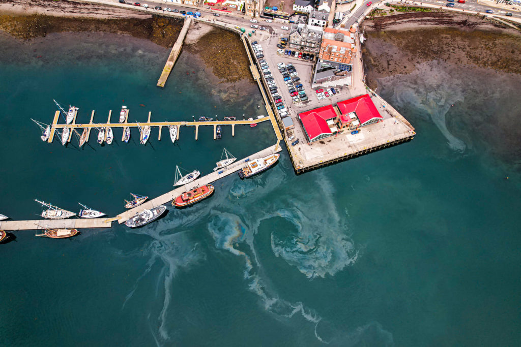 Drone photo shows North Pier spill