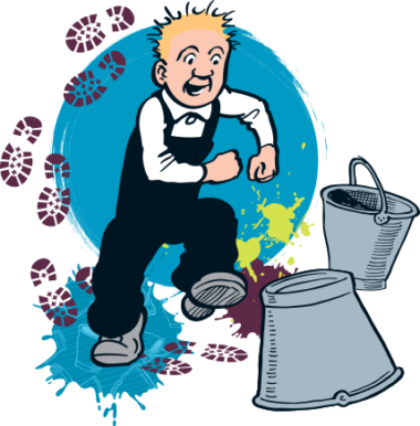 Oor Wullie walking with two metal buckets.