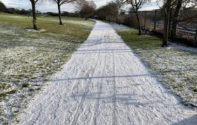 Triple tracks in snow