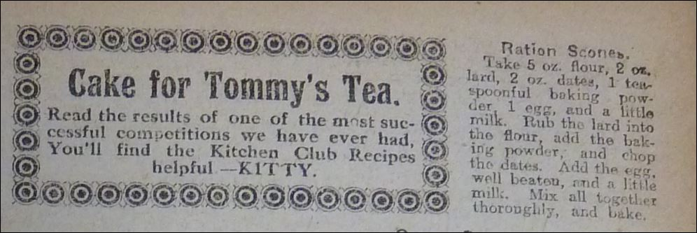 "Ration Scones recipe from ""The People's Friend"" January 7, 1918"